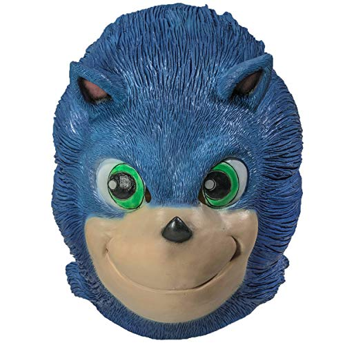 Sonic Mask Latex Blue Full Head Adult Halloween Cosplay Costume Accessory -