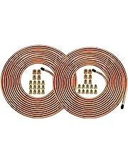 """25 Ft. of 1/4 & 3/16 Brake Line Tubing Kit - Muhize Flexible Tube Roll 25 ft 1/4"""" & 3/16"""" (Includes 16 & 16 Fittings)"""