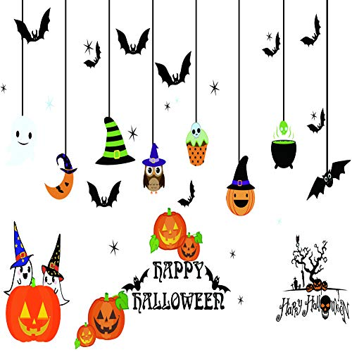 ecoolda Halloween Window Sticker Clings Bundle Pumpkins, Ghosts & More, Halloween Decorations Decals(Two -