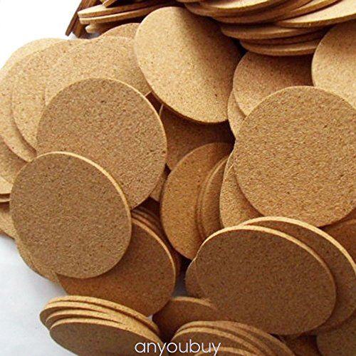 Natural Plain Cork Coasters Round Circle Drink Cup Mat Pack of 6 ANY