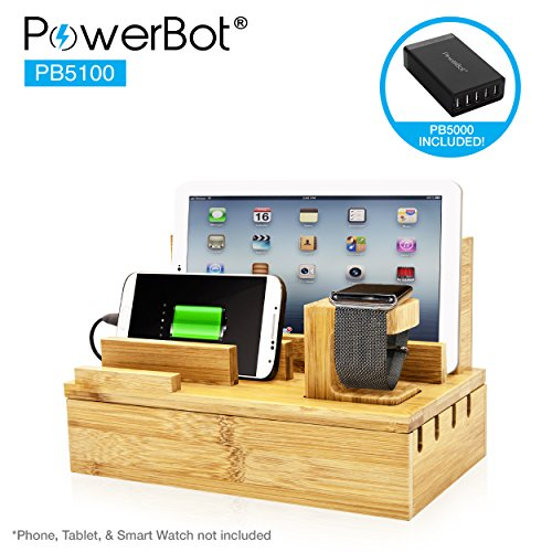 PowerBot PB5100 40Watt 8Amp 5 USB Port Rapid Charger Universal Desktop Charging Station w/Bamboo Finish, Multi Device Charging Dock, Organizer Stand for Tablets, Apple Watch, Smartphones up to 5.7