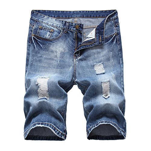 Men's Fashion Ripped Distressed Jean Shorts Straight Fit Denim Shorts with Holes