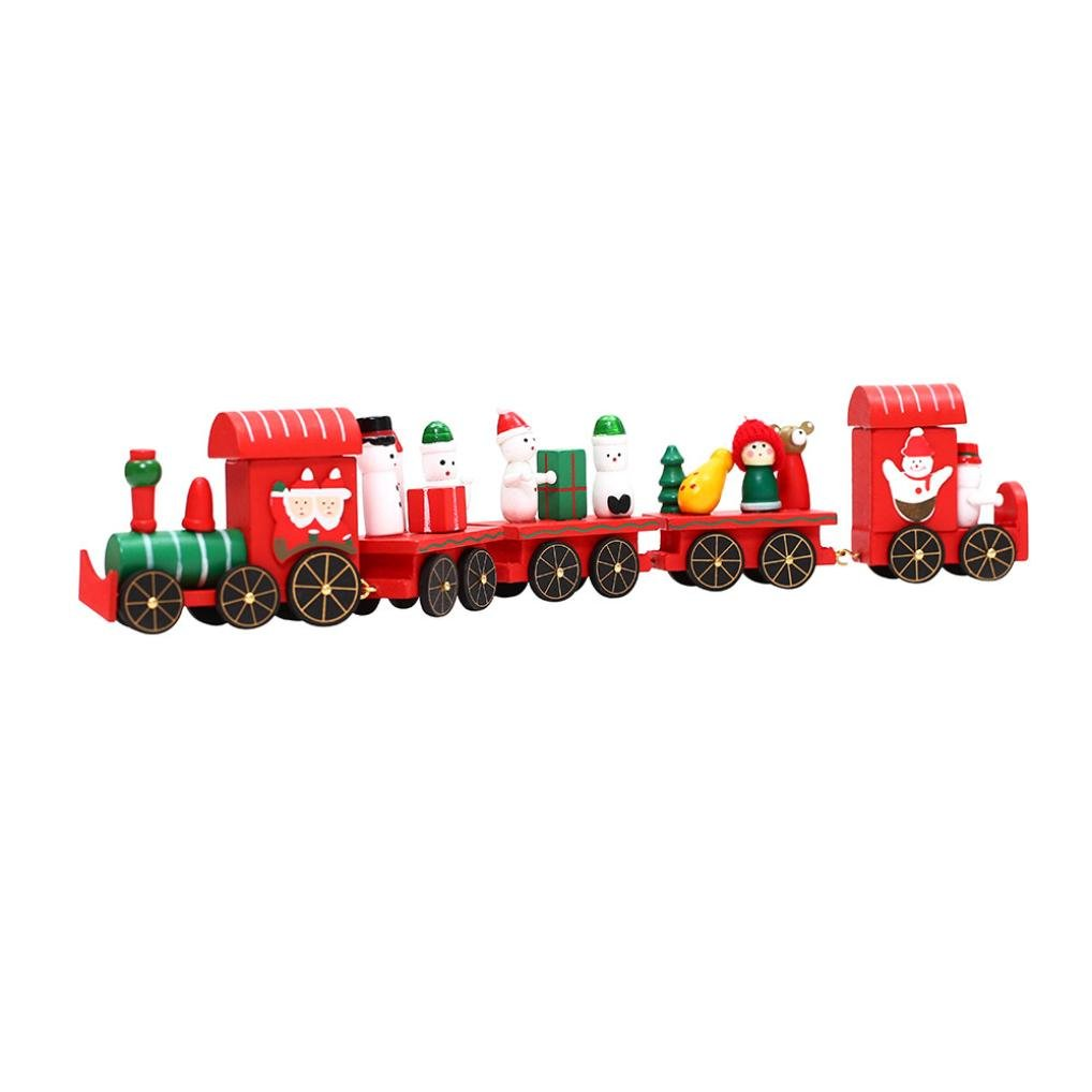 NXDA Christmas Decorations Christmas Woods Small Train Children Kindergarten Festive (A)
