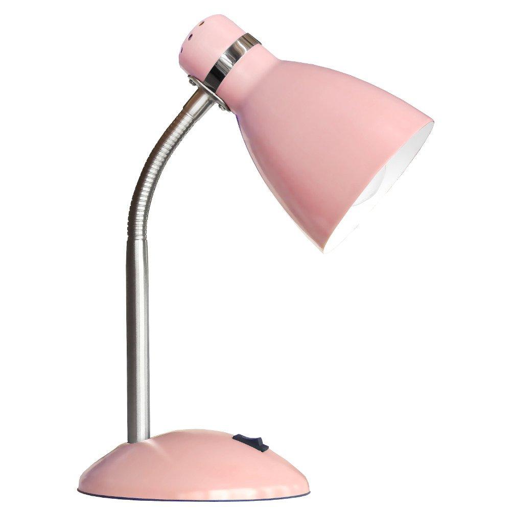 Schreibtischleuchte Rosa 1 Flammig Kinder-Nachttischlampe flexibler Arm Schalter aus Metall Schreibtischlampe, Nachttischleuchte, Nachttischlampe, Tischleuchte, Tischlampe, H/öhe 35 cm, Fassung E27