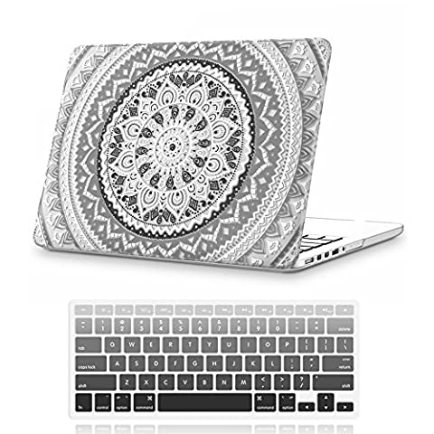 iCasso Macbook Pro 13 inch Case Rubber Coated Hard Shell Plastic Protective Cover For Macbook Pro 13 Inch with CD-ROM Drive Model A1278 With Keyboard Cover(Previous Generation)- (Gray&White (Macbook Pro Rubber Cover 13 Inch)