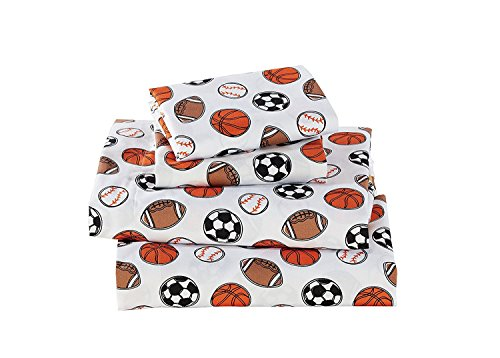 Fancy Linen 4 pc Full Size Sheet Set Sport Kids Teens Baseball Basketball Football Soccer White Black Orange Brown Set - Bedding Bed Football Sheets Set