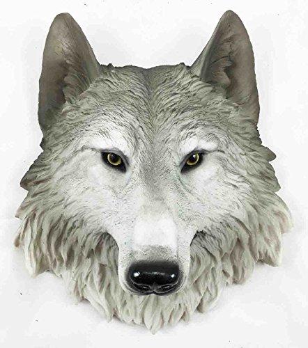 Grey Timber Wolf Wall Plaque Hanging Figurine Home Decor Plaque Medium