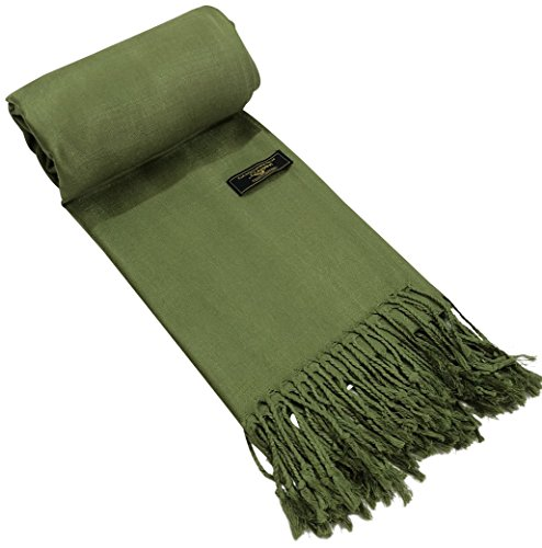 (CJ Apparel Olive Green Solid Color Design Shawl Scarf Wrap Pashmina Seconds NEW)