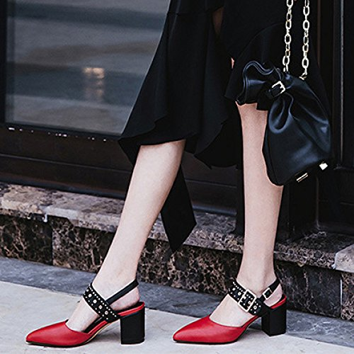 t Hauts Chaussures Talons Cm Mode Sandales 7 Nouvelle Rouge Ximu Pantoufles Femme Accent 2018 Rivets De Pompe 5nqYHA