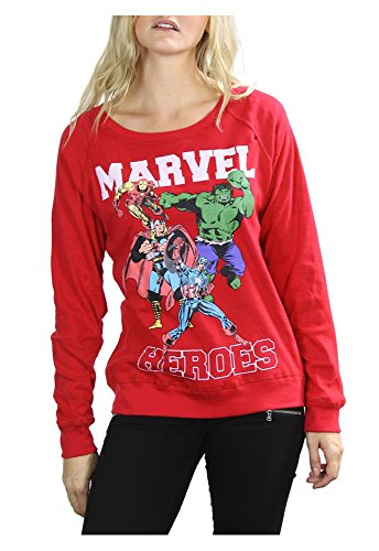 Freeze Apparel Classic Marvel Comics Heroes Juniors Reversible Long-Sleeve Pullover Sweatshirt Tee, Red (Medium 7/9) Marvel Heroes Scene