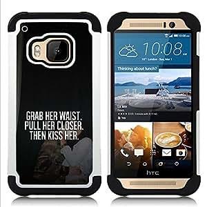 """HTC One M9 /M9s / One Hima - 3 en 1 impreso colorido de Altas Prestaciones PC Funda chaqueta Negro cubierta gel silicona suave (Coge Su beso cita del amor Love Honey"""")"""