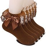 Sept.Filles Socks Girl's Anklet Socks Lace Top Dress Socks Packs of 5