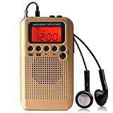 AM FM Portable Pocket Mini Radio, Mini Digital Tuning Stereo Speaker, Alarm Clock Radio with Earphone for Walk/Jogging/Gym/Camping (Gold)