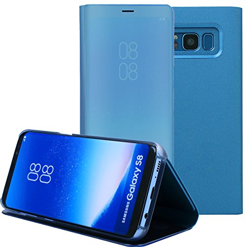 Galaxy S8 Case, AICase Luxury Translucent View Window Sleep/Wake Up Function Cover Mirror Screen Flip Electroplate Plating Stand Full Body Protective Case for Samsung Galaxy S8(Blue)
