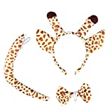 LUOEM Giraffe Costume Giraffe Ears Headband Tail Costume Accessory Set Animal Bow Tie for Halloween Cosplay Party 3 PCS