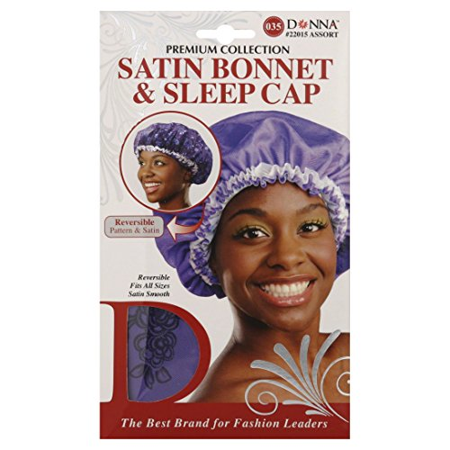 (Donna Premium Collection Satin Bonnet and Sleep Cap #22015 Purple, High quality, smooth satin, satin texture, reversible, fits all sizes,)