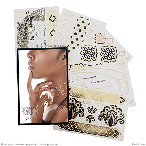 Flash Tattoos Beyonce Authentic Metallic Temporary Tattoos 5 Sheet Pack (gold/black) - Includes Over 56 Premium Waterproof Tattoos