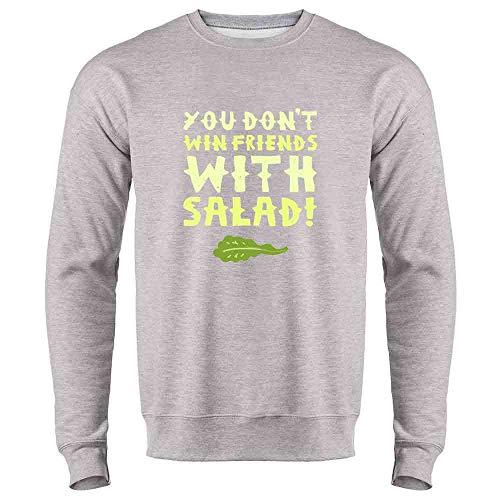 Pop Threads You Don't Win Friends with Salad Heather Gray M Mens Fleece Crew Sweatshirt (Marge Simpson Sweatshirt)