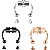3pcs Magnetic Septum Nose Ring Hoop Horseshoe Rings,Reusable Fashion Nose Ring Alloy Fake Magnetic Horseshoe Non…