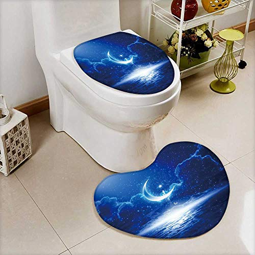 Analisahome Non-Slip Bathroom Mats Set Eid Mubarak background with shining moon and stars,holy month,Ramadan Kareem Customized Heart shaped foot pad by Analisahome