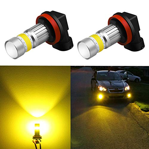 Alla Lighting 2800lm Xtreme Super Bright H11 LED Bulbs Fog Light High Illumination COB-72 LED H11 Bulb H8 H16 H11 Fog Lights Lamp Replacement - 3000K Amber Yellow