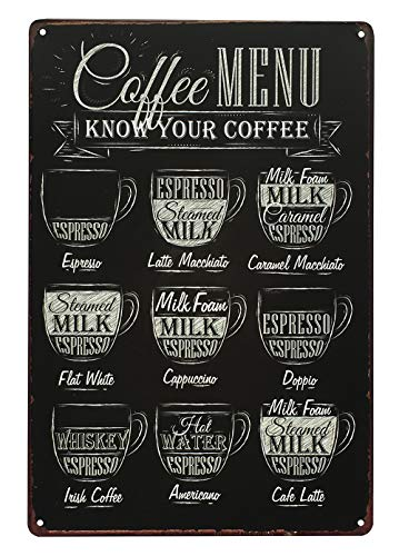 UNIQUELOVER Coffee Menu Know Your Coffee Retro Vintage Metal Tin Sign Pub Coffee Bar Sign 12