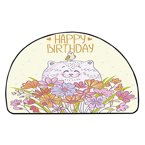 C COABALLA Birthday Decorations Comfortable Semicircle Mat,Adorable Happy Cat Bird Meadow Flower Bouquet Positive for Living Room,35.4