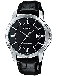 Men's MTP-V004L-1A Date Quartz Watch with Genuine Leather