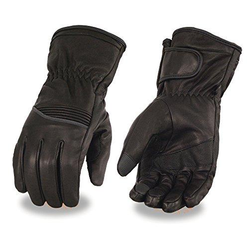 Milwaukee Leather Men's Waterproof Gauntlet Glove with Flex Knuckle(Black, Large), 1 Pack ()