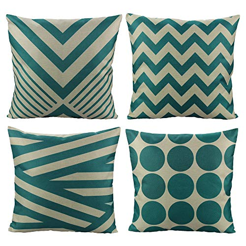 All Smiles Teal Throw Pillow Covers Cases Decorative Turquoise Cushion Pillowcases 18x18 Cotton Linen Square for Home Decor Sofa Couch Bed,Set of 4 (Pillows Turquoise Brown And)