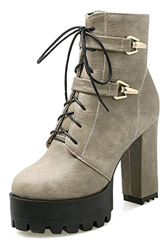 Round Toe Gray Aisun Heel Zip Boots Fashion Up Lace High Ankle Womens Dressy Chunky Short Platform Inside Booties O7fwqB7