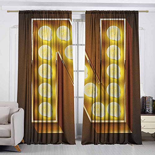 (VIVIDX Home Decoration Thermal Insulated Curtains,Letter N,Language Alphabet Symbol Vegas Vintage Design Typography Art Inspiration,Simple Stylish,W55x63L Inches Yellow Amber Black)