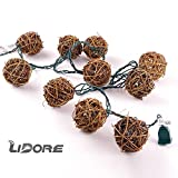 LIDORE Brown Rattan Balls String Light. Set of 10 warm white light for christmas wedding garden Patio and party Incandescent