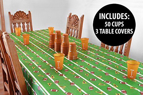 (KOVOT Football Party Supplies | 50 Pack 16-Ounce Football Cups & 3 Table Covers)