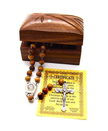 Holy Land Bethlehem Olive Wood Rosary Beads with Holy Water From the Jordan River and Jerusalem Cross Wooden Hand Carved Jewelry Box (That Tree Christmas Grew)