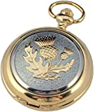 A E Williams Scottish Thistle 2 tone mens quartz pocket watch with chain