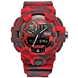 SMAEL New Camouflage Military Watch Sport Watches LED Digital Clock Dual Time Wristwatch Men's Army Watch Waterproof 8001 Series (Red)