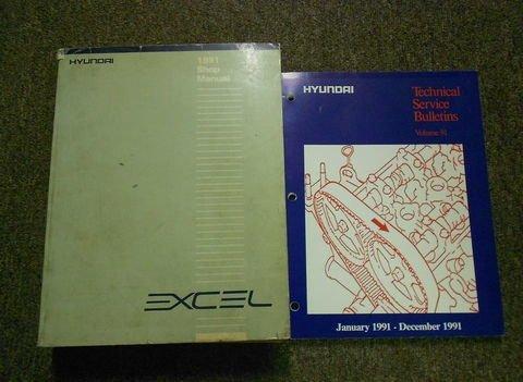 1991 HYUNDAI EXCEL Service Repair Shop Manual SET FACTORY OEM Book 91