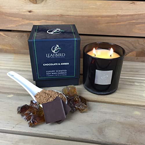 - Chocolate & Amber Fragrance | LeafBird Luxury Scented Candle | Natural Soy Wax with Strong Fragrance | Luxury Gift Box Included