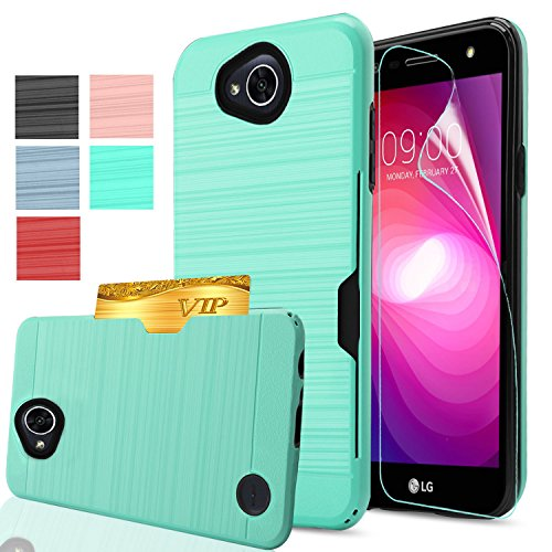 Tiger Pattern Plate (LG X Power 2 Case (LG Fiesta LTE/X Charge/K10 Power Case) with HD Screen Protector,AnoKe[Card Slots Wallet Holder]TPU Soft Hybrid Shockproof Heavy Duty Brush Cover Cases for LG LV7 KC2 Mint)