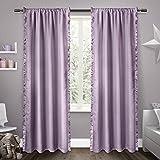 Exclusive Home Kids Ruffles Rod Pocket Window Curtain Panels, Lilac, 54-Inchx84-Inch Set of 2