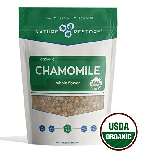 Nature Restore USDA Certified Organic Chamomile Tea Loose, Whole Flower, 4 Ounces, ()