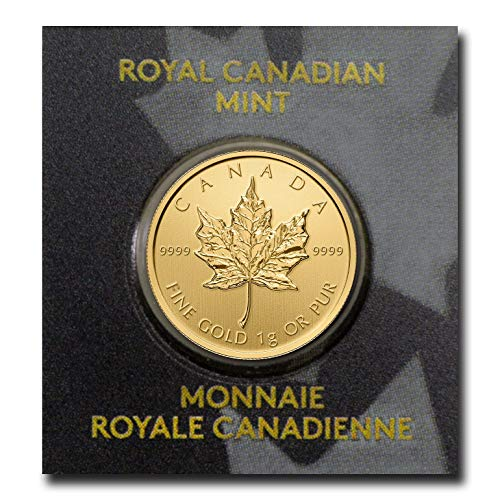 CA 1 Gram Gold Canadian Maple Leaf (Maplegram25TM) In Assay 50 Cents Brilliant Uncirculated