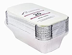 20bandejas con tapa • r13l • de aluminio Bol • pequeño • ungeteilt • de aluminio Menú Carcasa • Lunch Box • asietten • aluminio Depósito • Bandejas rígida • aluminio • Lasaña Forma • molde •–Ramequín, 670 ml