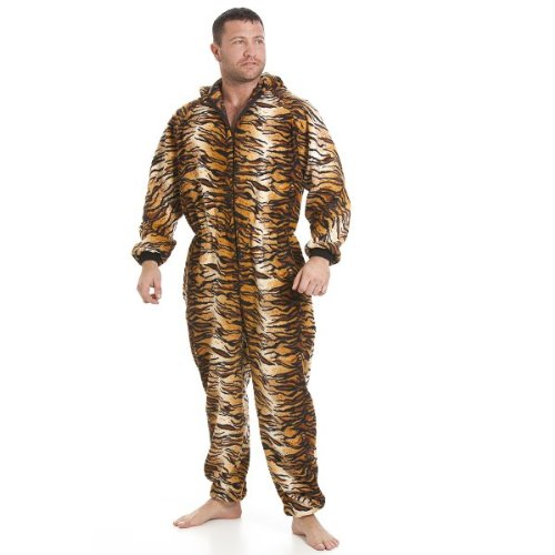 Camille Mens Luxury Gold And Brown Tiger Print Hooded All In One Onesie Pyjama XLARGE BROWN - Gold Brown Tigers