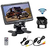 "Camecho RC 12V 24V Car Backup Camera Rear View Wireless IR Night Vision Backup Camera Waterproof Kit + 7"" TFT LCD Monitor Parking Assistance System for Truck/Van / Caravan/Trailers / Camper"