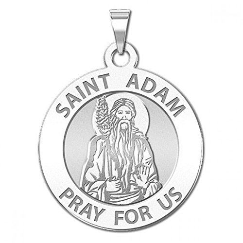 Adam Medal - PicturesOnGold.com Saint Adam Round Religious Medal - - 2/3 Inch Size of Dime, Sterling Silver