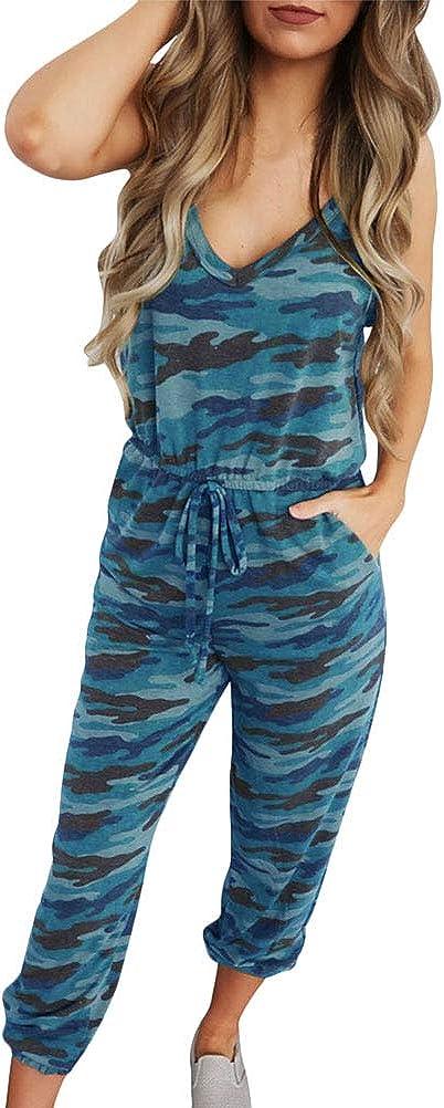 Loveternal Damen Jumpsuit Sommer Kurz Playsuits V-Ausschnitt Overall Verstellbare Lose /Ärmellos mit Taschen S-XL
