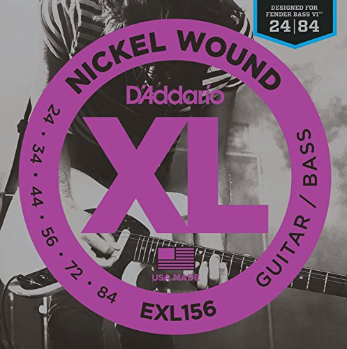 D'Addario EXL156 Nickel Wound Electric Guitar/Nickel Wound Bass Strings, Fender Nickel Wound Bass VI, 24-84