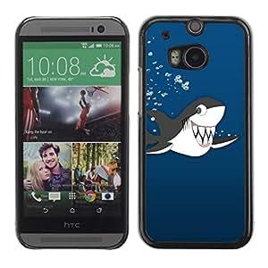 Caucho caso de Shell duro de la cubierta de accesorios de protección BY RAYDREAMMM - HTC One M8 - Killer Whale Cartoon Drawing Shark Teeth Cute